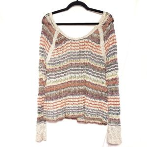 Free People colorfully striped knit sweater L